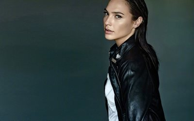 Gal Gadot, Israeli actress, portrait, beautiful young woman, black leather jacket