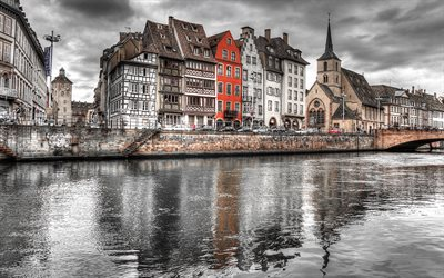 Strasbourg, river Il, evening, river, France, old houses