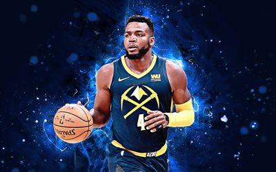 4k, paul millsap, abstrakte kunst, basketball-stars, nba, denver nuggets, millsap, basketball, neon-leuchten, kreative