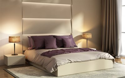 stylish bedroom interior, beige colors, modern interior design, large bed, beige curtains