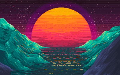 4k, sea, moon, digital art, 8 Bit, creative, nightscape