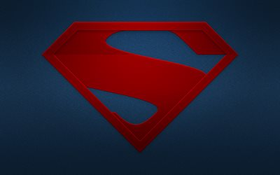 Man of Steel, superheroes, logo, minimal, blue background, Man of Steel logo