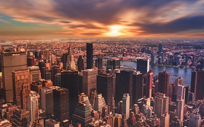 New York, 4k, sunset, cityscapes, Manhattan, skyscrapers, USA, America