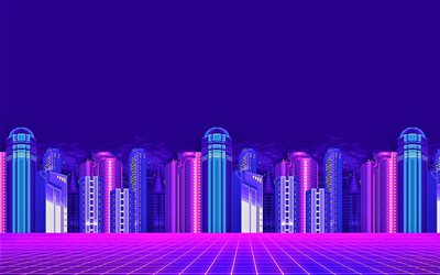 cityscape, digital art, skyscrapers, 8 Bit, creative, nightscape