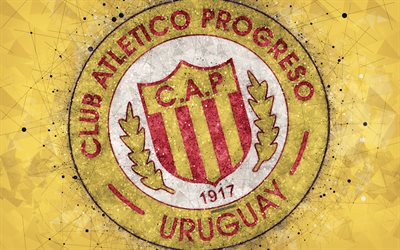 CA Progreso, 4k, logo, geometric art, Uruguayan football club, yellow background, Uruguayan Primera Division, Montevideo, Uruguay, football, creative art