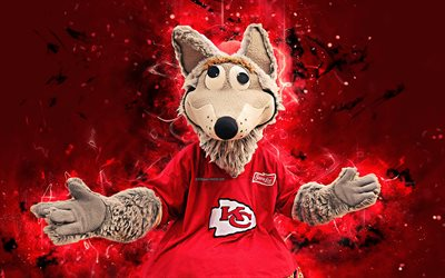 KC Wolf, 4k, mascot, Kansas City Chiefs, abstract art, NFL, creative, USA, Kansas City Chiefs mascot, National Football League, NFL mascots, official mascot