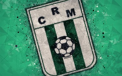 Racing Club de Montevideo, 4k, logo, geometric art, Uruguayan football club, green background, Uruguayan Primera Division, Montevideo, Uruguay, football, creative art, Racing Montevideo FC