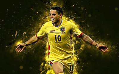 4k, Nicolae Stanciu, abstract art, Romania National Team, fan art, Stanciu, soccer, footballers, neon lights, Romanian football team