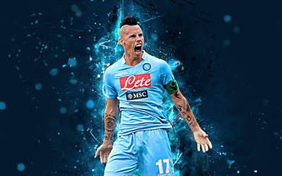 Marek Hamsik, 4k, abstract art, Napoli, soccer, Serie A, Hamsik, footballers, neon lights, Napoli FC, creative