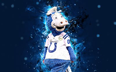 Blue, 4k, mascot, Indianapolis Colts, abstract art, NFL, creative, USA, Indianapolis Colts mascot, National Football League, NFL mascots, official mascot, Blue Indianapolis Colts Mascot