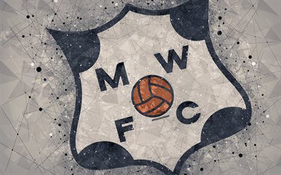 Montevideo Wanderers FC, 4k, logo, geometric art, Uruguayan football club, gray background, Uruguayan Primera Division, Montevideo, Uruguay, football, creative art
