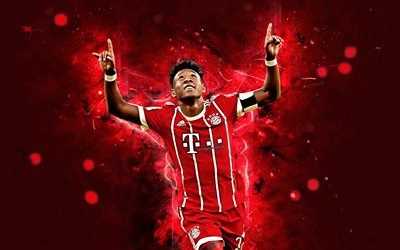 4k, David Alaba, abstract art, football stars, Bayern Munich, soccer, Alaba, Bundesliga, footballers, neon lights, Bayern Munich FC