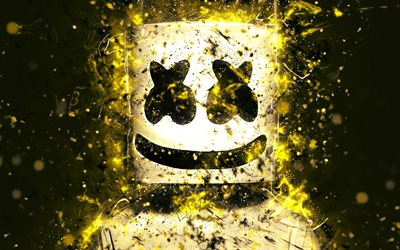 4k, DJ Marshmello, Christopher Comstock, yellow neon, american DJ, superstars, neon lights, fan art, Marshmello, DJs