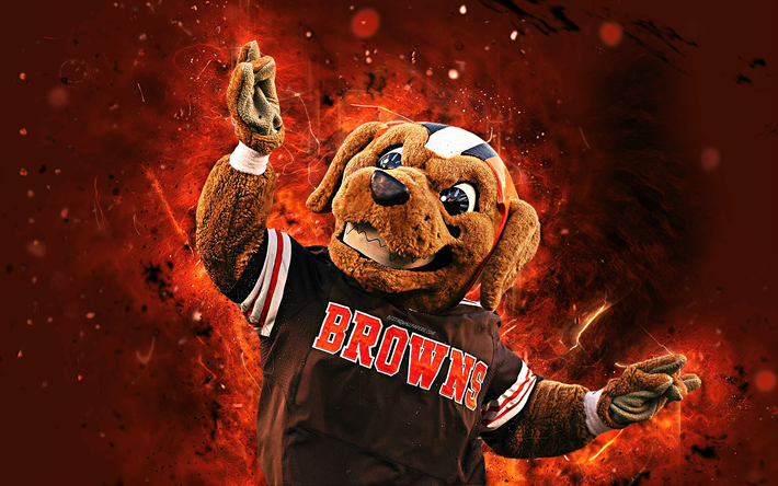 Download Wallpapers Chomps, 4k, Mascot, Cleveland Browns