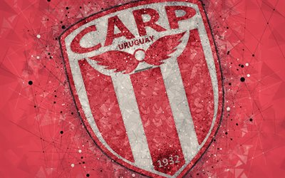 Club Atletico River Plate, 4k, logo, geometric art, Uruguayan football club, red background, Uruguayan Primera Division, Montevideo, Uruguay, football, creative art
