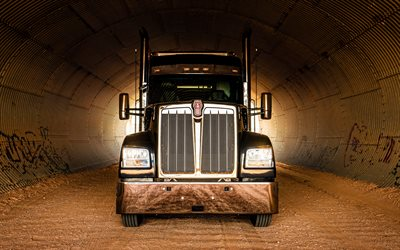 Kenworth W990, 4k, 2020 trucks, american truck, trailer, LKW, trucks, front view, USA, Kenworth
