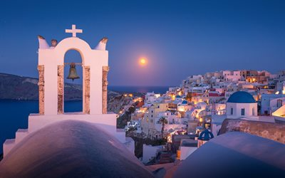 Santorini, Greek Church, Oia, evening, sunset, white houses, Greece, Aegean Sea, romantic cities