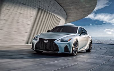 Lexus IS 350 F Sport, 2021, 4k, front view, exterior, silver sedan, new silver Lexus IS, Japanese cars, Lexus