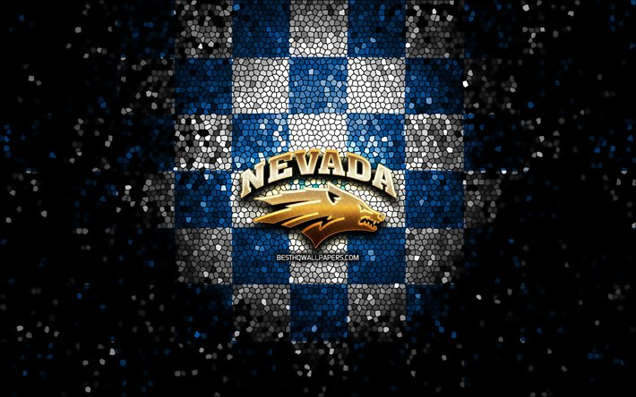 Download Wallpapers Nevada Wolf Pack Glitter Logo Ncaa Blue White Checkered Background Usa American Football Team Nevada Wolf Pack Logo Mosaic Art American Football America For Desktop Free Pictures For Desktop Free