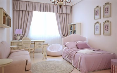 Modern design, childrens room interior, interior for the girl, childrens bedroom