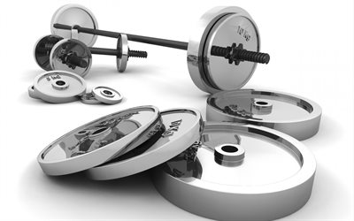 3d bar, 3d dumbbells, rendering, bodybuilding, gym, sports equipment