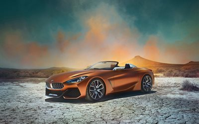 BMW Z4 Concept, 2017, Luxury cars, front view, bronze Z4, German cars, BMW