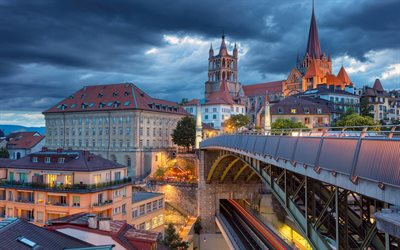 Lausanne Cathedral, evening, bridge, Lausanne, Switzerland
