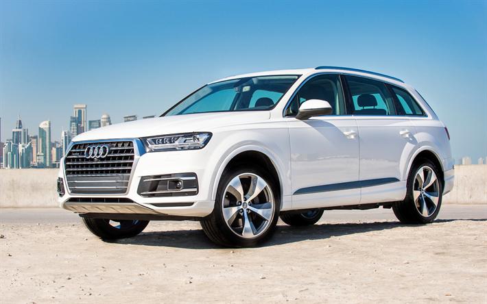 t l charger fonds d 39 cran audi q7 2018 voitures vus voitures de luxe blanc q7 voitures. Black Bedroom Furniture Sets. Home Design Ideas