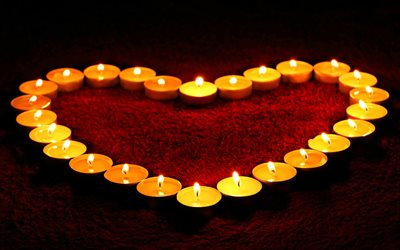 Heart from candles, romantic evening, decoration, burning candles, heart