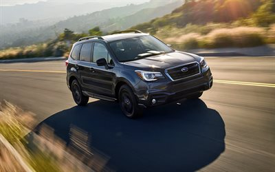 Subaru Forester, 2018 cars, SUVs, movement, black Forester, japanese cars, Subaru
