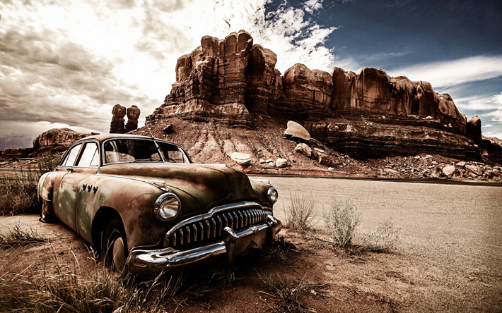 Old Muscle Car In Desert