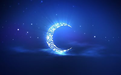 moon, night, bright stars, blue rays