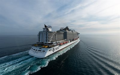 MSC Seaview, luxury cruise liner, sea, white big ship, cruise ships