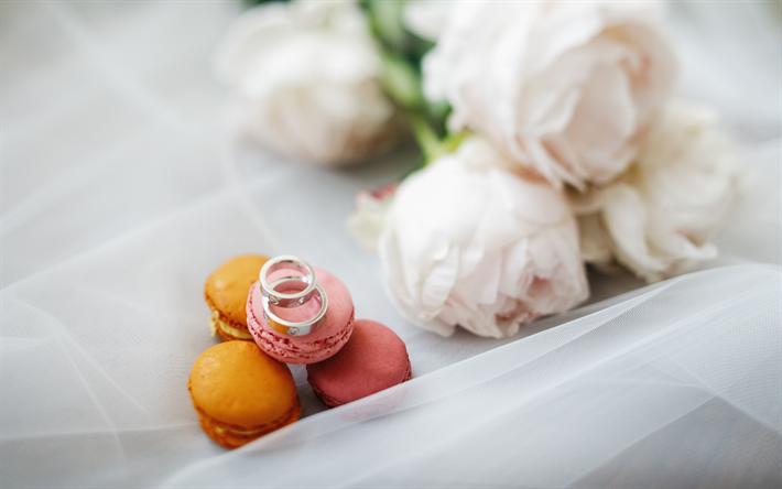 Herunterladen Hintergrundbild Hochzeit Ringe Weisse Rosen Hochzeit