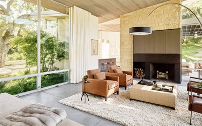 living room, Scandinavian style, fireplace, armchairs, large sofa, modern interior design
