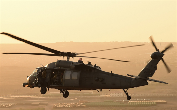 Sikorsky UH-60 Black Hawk, American military helicopter, evening, sunset, helicopter in the sky, US Air Force, USA, Sikorsky
