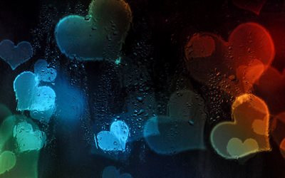 abstract hearts background, 4k, droplets, hearts patterns, love concepts, colorful hearts background, hearts textures, background with hearts