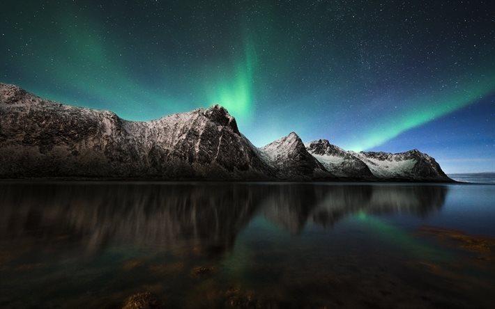 Scarica sfondi rocce mare aurora boreale norvegia for Sfondi desktop aurora boreale