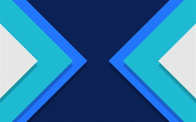 blue abstraction, backgrounds, material design, blue triangles