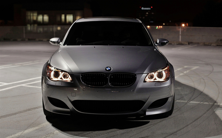 Download wallpapers BMW M5, E60, darkness, 4k, tuning, parking ...