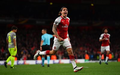 Hector Bellerin, 4k, football, match, The Gunners, Arsenal, footballers