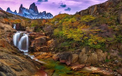 Download Wallpapers Waterfall Andes Mountains Santa Cruz Mountain Landscape Argentina
