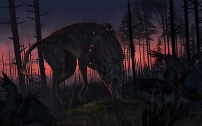 wolf, darkness, hunting, forest, fantasy art