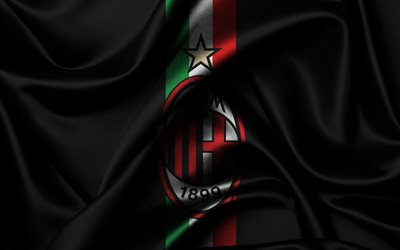 Milan, Serie A, football, Italy, black silk flag, emblem of Milan, football club, Milan logo