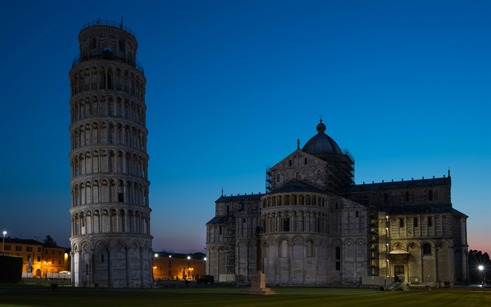 Leaning Tower of Pisa, night, Pisa, sights, Italy