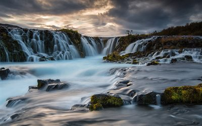 waterfalls, sunset, evening, mountain river, Iceland