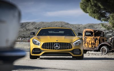 Mercedes-Benz GT R AMG, 2019, front view, yellow supercar, new yellow GT R, sports coupe, German sports cars, Mercedes