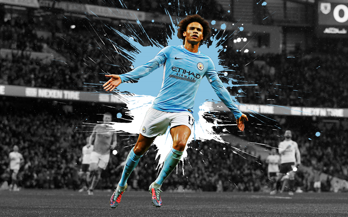 Download Wallpapers Leroy Sane, 4k, Art, Manchester City