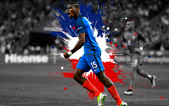 Download Wallpapers Paul Pogba, 4k, France National