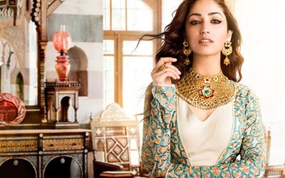 Yami Gautam, indian actress, portrait, indian fashion model, photoshoot, beige dress, Bollywood
